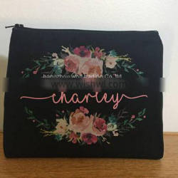 black fabric bridal cosmetic bags printed clutch for selling