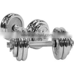 Chrome Dumbbell Set with adjustable plates for weight lifting