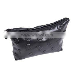 factory direct sell beauty cosmetic case skull black leather print cosmetic bag for women