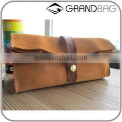 handmade cow leather cosmetic organizer bag large capacity clutch pen bag for travel