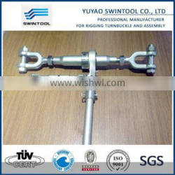Container ratchet-turnbuckles with ends including eye jaw
