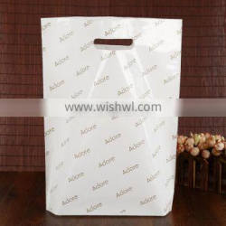 Factory Cheap Price flat bottom white PE plastic bag with die cut hang hole with logo printing