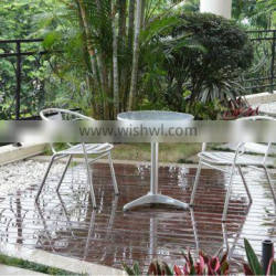 Aluminum polished garden furniture, outdoor dinning set, cafe outdoor chairs and table with 3 pieces