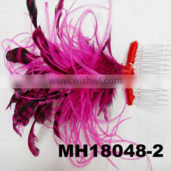 Hot pink feather fascinator for party