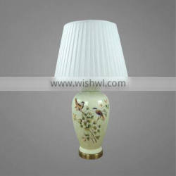 Nice Printing On Ceramic Body And Antique Brass Metal Base With Fabric Lampshade Bedside Table Lamps Decorative Table Lamp