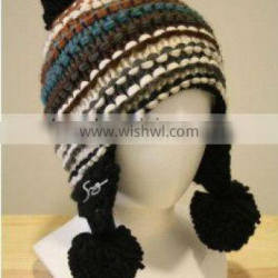 knitted beanie hat with ear muff for winter 2013
