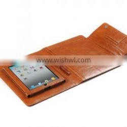 Smooth Brown Leather Padfolio With Quick-Release iPad Holder