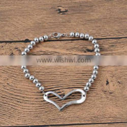 New design simple stainless steel bead with heart charm beaded bracelet