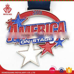 Custom 2018 New America Cut out Medal with Shiny Glitter Stars