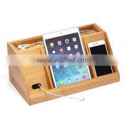 2015 Newest Hot Selling Desktop phone stand holder table Storage and Tidy funny Bamboo Cell Phone Recharger Station wholesale Quality Choice