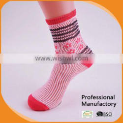 popular lady jaquard Rumi Socks with pointelle pattern/woman socks