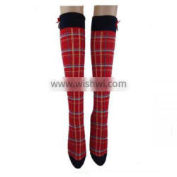 GSW-51 wholesale custom made knee-high red cotton women socks