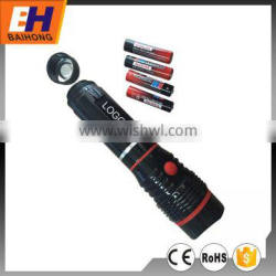 Hot Sell High Power Extendable COB Plastic Flashlight, Magnet on the Bottom, 4xAAA, COB: 280lm, 3W LED: 120lm