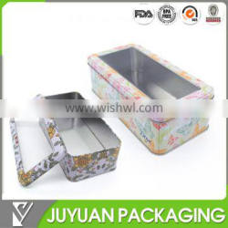 Hot sale rectangular walmart gift hinged lip watch tin box with window