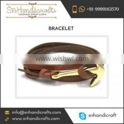 Leather Made Anchor Bracelets at Nominal Cost