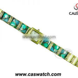 Woman watch chain watch colored glaze
