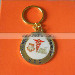 custom round shaped school of medical sciences logo metal key chain for promotion