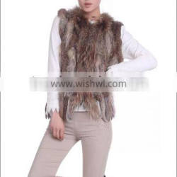wholesale luxury high quality real rabbit fur knitting vest and knitted animal fur waistcoat with collar for women
