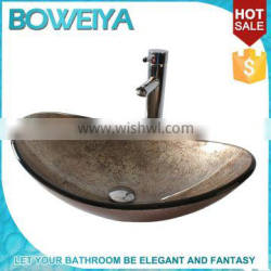 Superior Quality Hand Painted Tempered Glass Made Artificial Natural Stone Granite Look Wash Basin