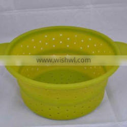 Silicone handle foldable colander