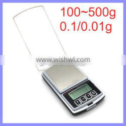 3.5 Inch Crystal Clear Cover Tray Jewelry Scale 100G 0.01G Digital Pocket Scale