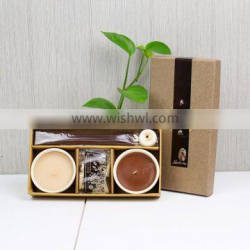promotional gift set with incense sticks scented candles and ceramic holder