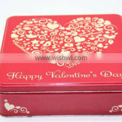 Wedding Gift Red Square Tin Box With Heart-Shaped Logo , Candy Tin Cans