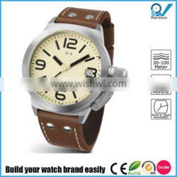 Build your watch brand easily stainless steel case 50 meters-100 meters water resistant japan movement men watch