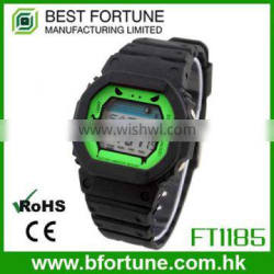 FT1185_GN Green Color Dial LCD display Plastic digital hand watches