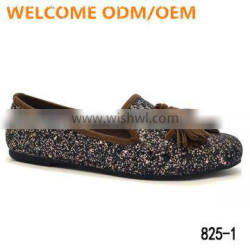 Chinese Shoes Factory 2016 casual glitter tassel ladies beautiful women flat shoes