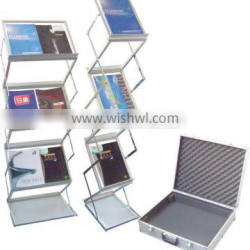 double side magazine holder chromed aluminum acrylic catalogue holders A4 pull up brochure stand