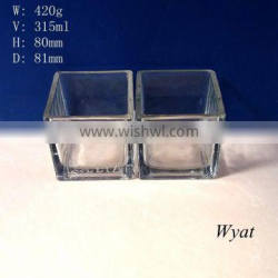 wholesale 315ml clear square glass candle jars for decoration SLJd49 Quality Choice