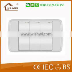 PC Material White Color 3 Gang 1 Way Electric Wall Power Switch