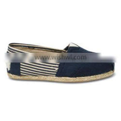 Stripe rope sole canvas women's classics slip on shoes