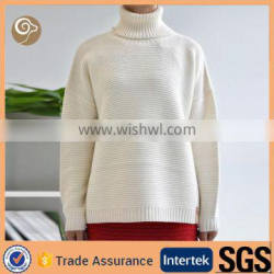 women long neck horizontal cable cashmere pullover
