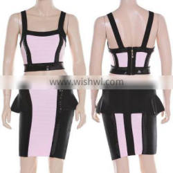 New Fashion 2015 Sequined Two Piece Pink And Black Flouncing High Quality Bodycon HL Bandage Dress