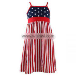 Wholesale cheap summer girls kint cotton spendex star navy baby dress 4th of July clothing kids Patriotic childrens dresses