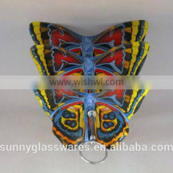 Creative style butterfly blue glass plate of three layers
