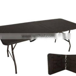 6ft newest rattan desing plastic folding table for wholesale from China