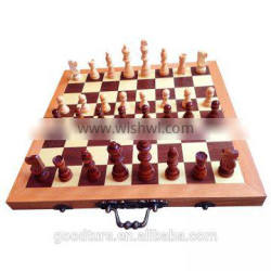 Wooden Folding Portable Chess Set 3 In 1 Chess Game With King Height 3 Inch