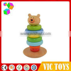 kids wooden tumbler toy, wooden stacker toy, wooden bear block toy
