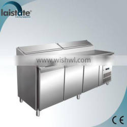 3 Doors Stainless Steel Refrigerated Pizza Workstation