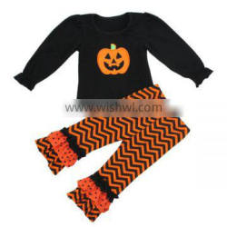 2016 Kaiyo kids boutique clothing ruffle Pumpkin applique ruffle top and pants oem service clothes halloween outfits for girls