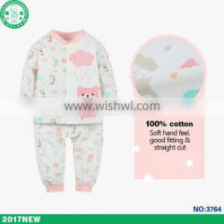 Long sleeve pink bear pattern children girl clothing set baby wear importing from china