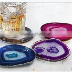 AGATE COASTER WITH GOLDEN TRIM