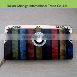 Hot sale cheap Feather pattern colorful shiny pu wallet with iron edge