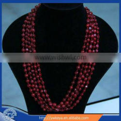 Fashion multi strand red coral beads necklace jewelry set