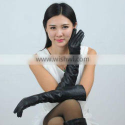 sexy lady long style leather gloves with 5 buttons on the cuff
