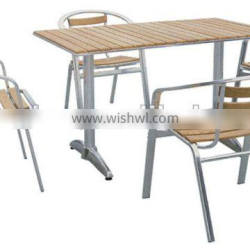 aluminum frame teak wood top table and chair furniture set