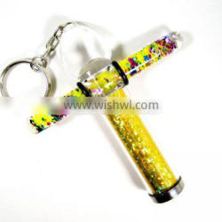 9.9cm liquid T-shape kaleidoscope with keyring - glitter print paper